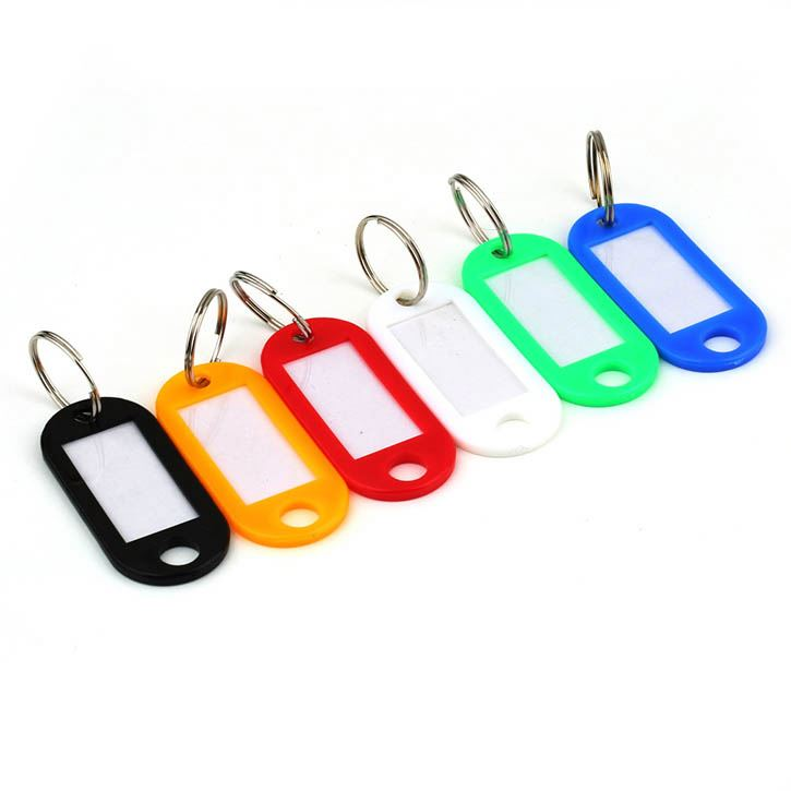 50pcs Home Keychain Key Cap Plastic Key Tag Hotel Key Tag ID Label Name Tags For Pet Split Ring