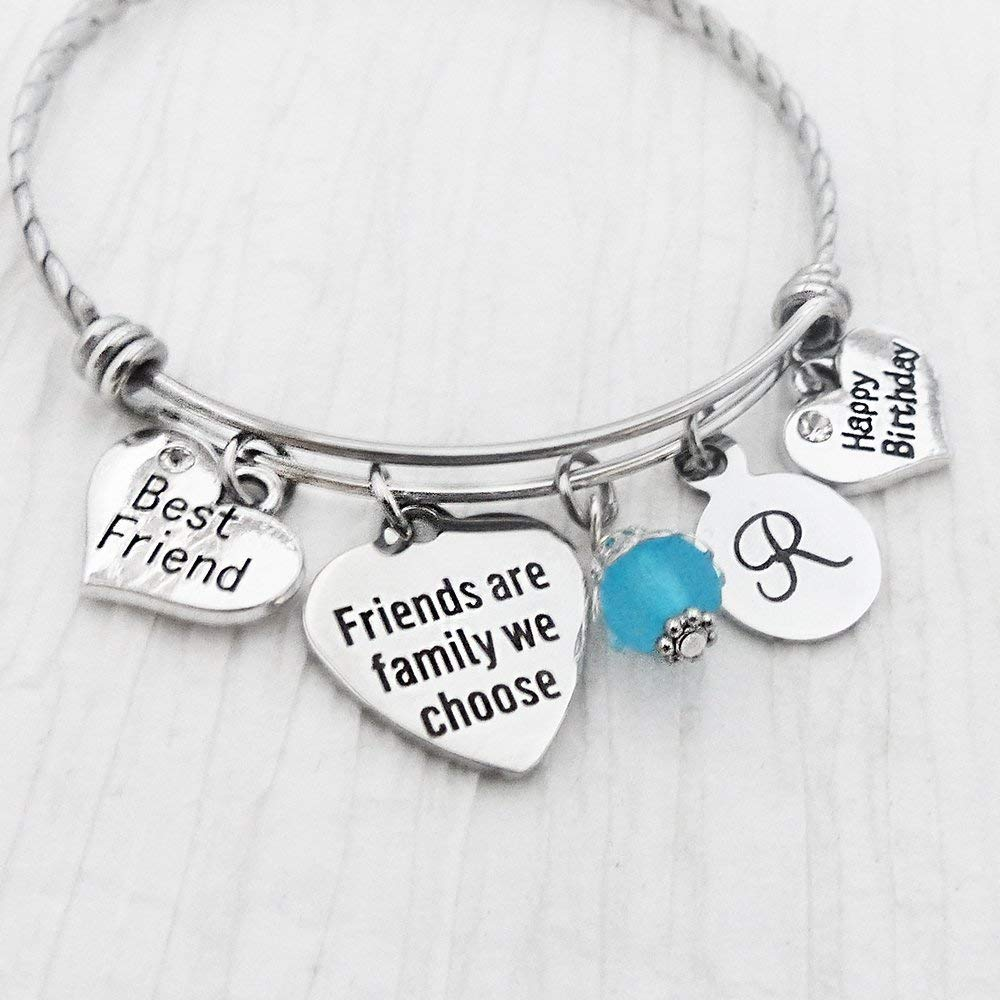 Best Friend Birthday Gift-Friends are Family We Choose Jewelry, Bangle Bracelet, Best Friend Charm, Happy Birthday Charm, Initial Letter Charm Bracelet, Friendship Gifts