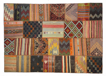 Vintage Turkish Kilim Rug Patchwork