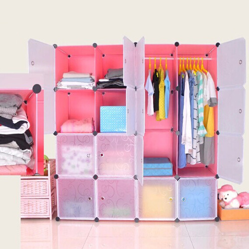 Pink color Plastic storage portable wardrobe closet with 0.38mm thickness panels and 4mm wire(FH-AW01636-16)