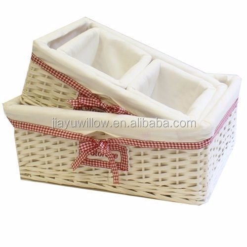 Rectangular Honey Wicker Storage basket Willow Wicker Hamper Storage Basket-With Cream Linning
