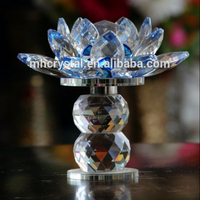 Blue Tall Crystal flower Lotus Home Decor MH-H0111