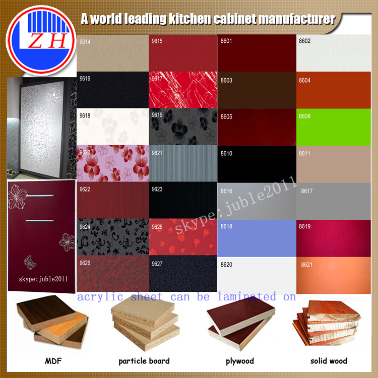 Kitchen Cabinet Package: Hot Sale Kitchen Cabinet Door Acrylic Laminated Sheet