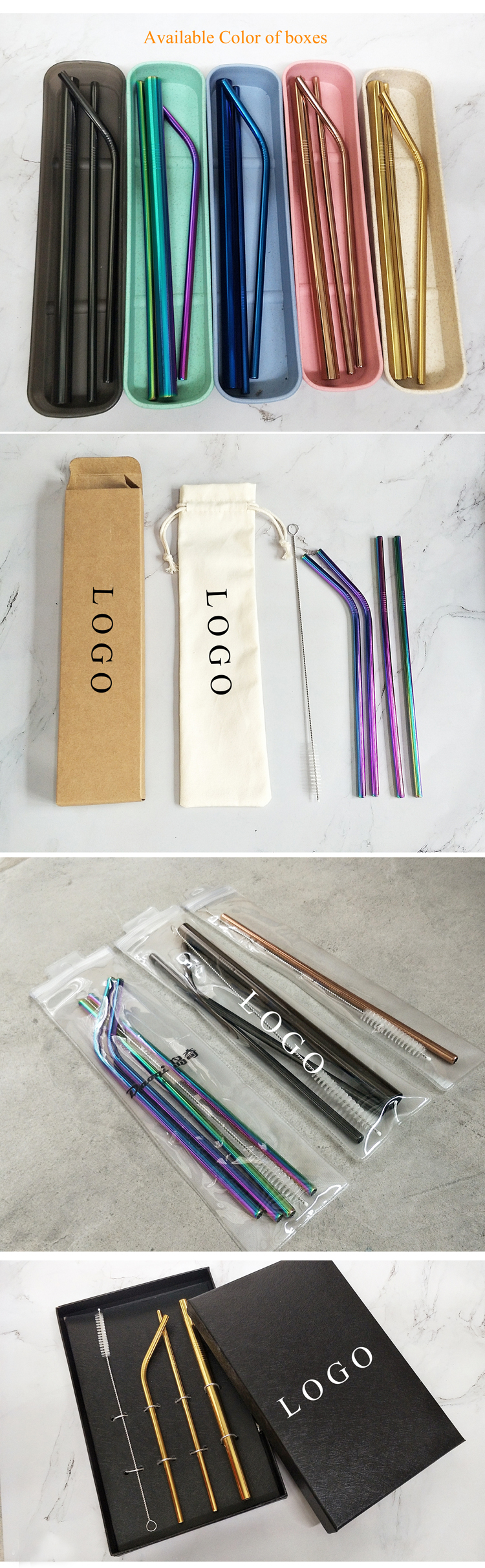 wholesale 304 stainless steel drinking straws , eco-friendly reusable metal stirrer spoon straw set
