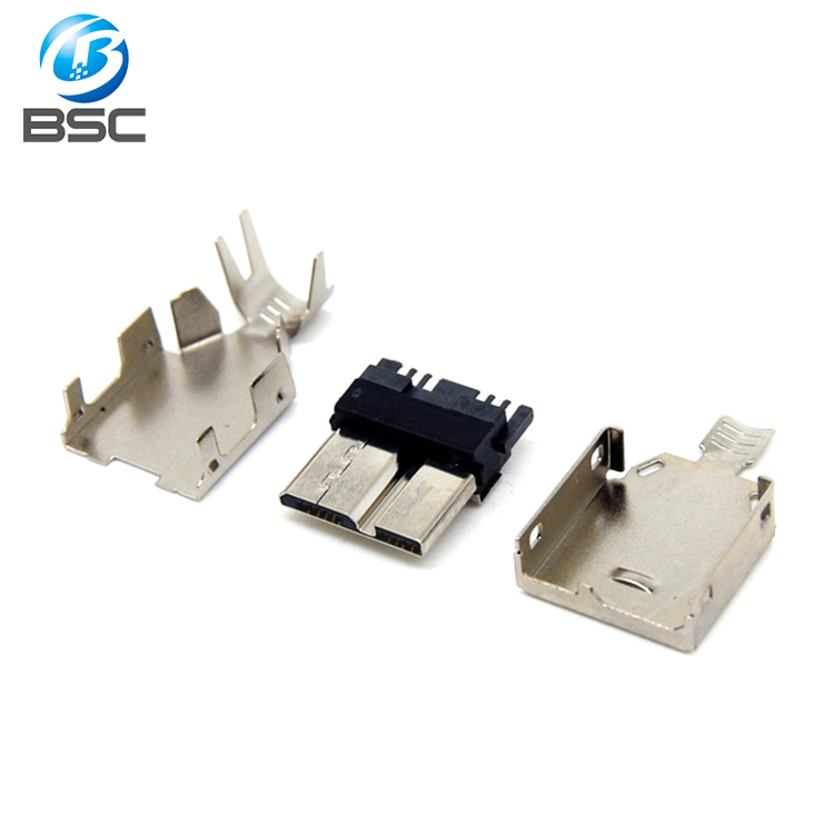 DIY 3 Piece Micro USB 3.0 10 Position/Pin B type female connector for wire soldering Chinese supplier