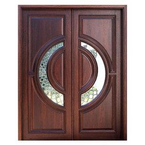 Front Door Wooden Double Round Designs