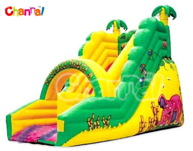 Green and Yellow Inflatable Tropical Bouncer Slide for Rental Equipment