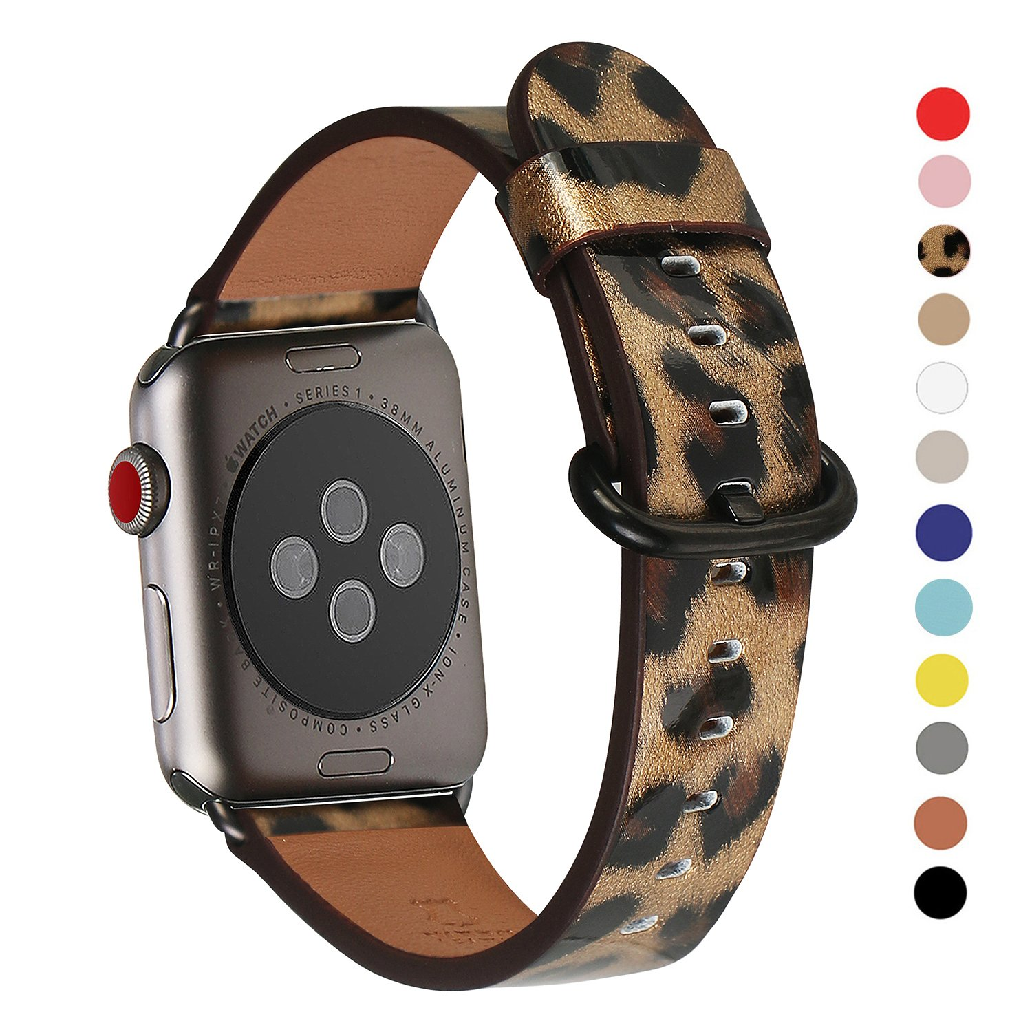 Apple Watch Band 38mm, WFEAGL Retro Top Grain Leather Band Replacement Strap with Stainless Steel Clasp for iWatch Series 2,Series 1,Sport, Edition (38mm Leopard Band+Black Buckle)