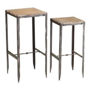 Industrial Tall Iron & Wood Nesting Tables Set of 2