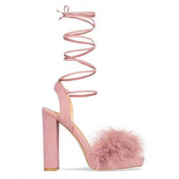 9924bd77d 2017 Western Sexy Women Party Wear Shoes Ladies Pink Suede Lace Up Faux Fur  Block Heel