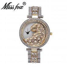 MISSFOX женские кварцевые часы модные шикарные повседневные женские часы женские кварцевые золотые часы с кристаллами и бриллиантами леопард...(China)