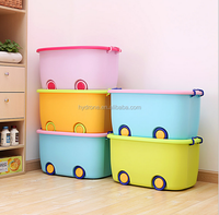 Wholesale colorful Cute plastic bin transparent big storage box for car /clothes /toy