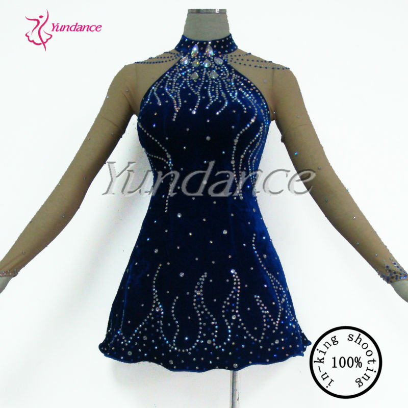 L-13101 ice skating dresses dance costumes blue sequins