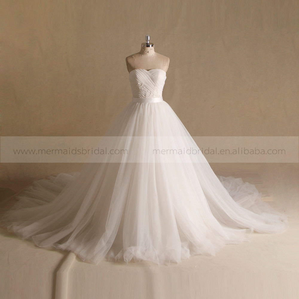 Dainty Sweet Heart Pleated Crystal Wedding Gown Long Tail Two Pieces ...