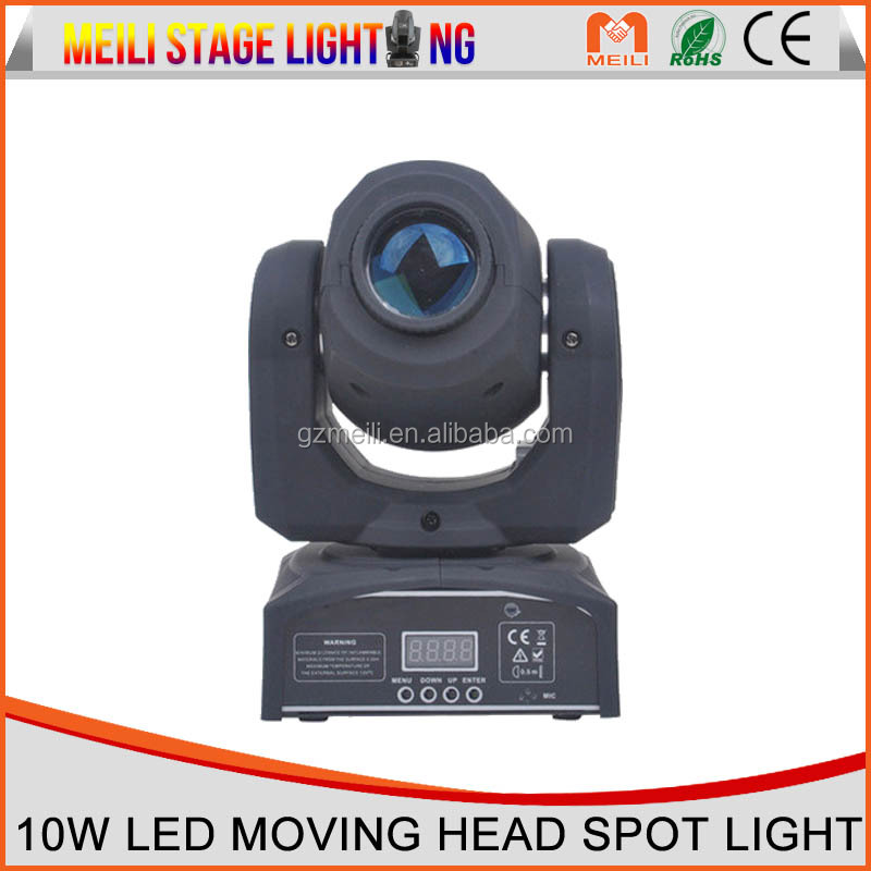 guangzhou supplier 10W LED Moving Head gobo spot Stage lighting for dj