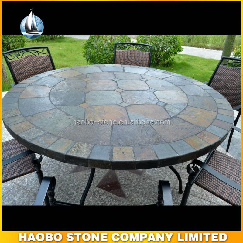 Haobo in pietra per esterni ardesia mosaico tavolo da giardino rotondo ardesia id prodotto - Tavolo in pietra giardino ...