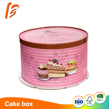 Round cake box cardboard packaging with hardboard top and base