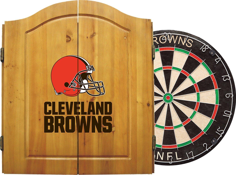 NFL Dart Cabinet Set w/ Steel Tip Bristle Dartboard and Darts