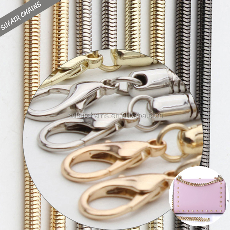 Wholesale high quality gold, gunmetal plated handbag chain with lobster clasp