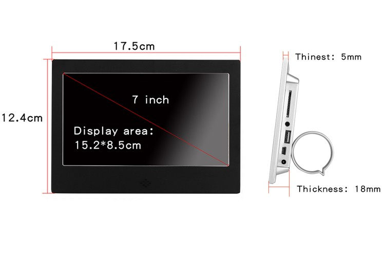 China Hot Selling Smart E-ink WiFi IPS Panel Digitale Fotolijst Perfect voor Gift 7 Inch