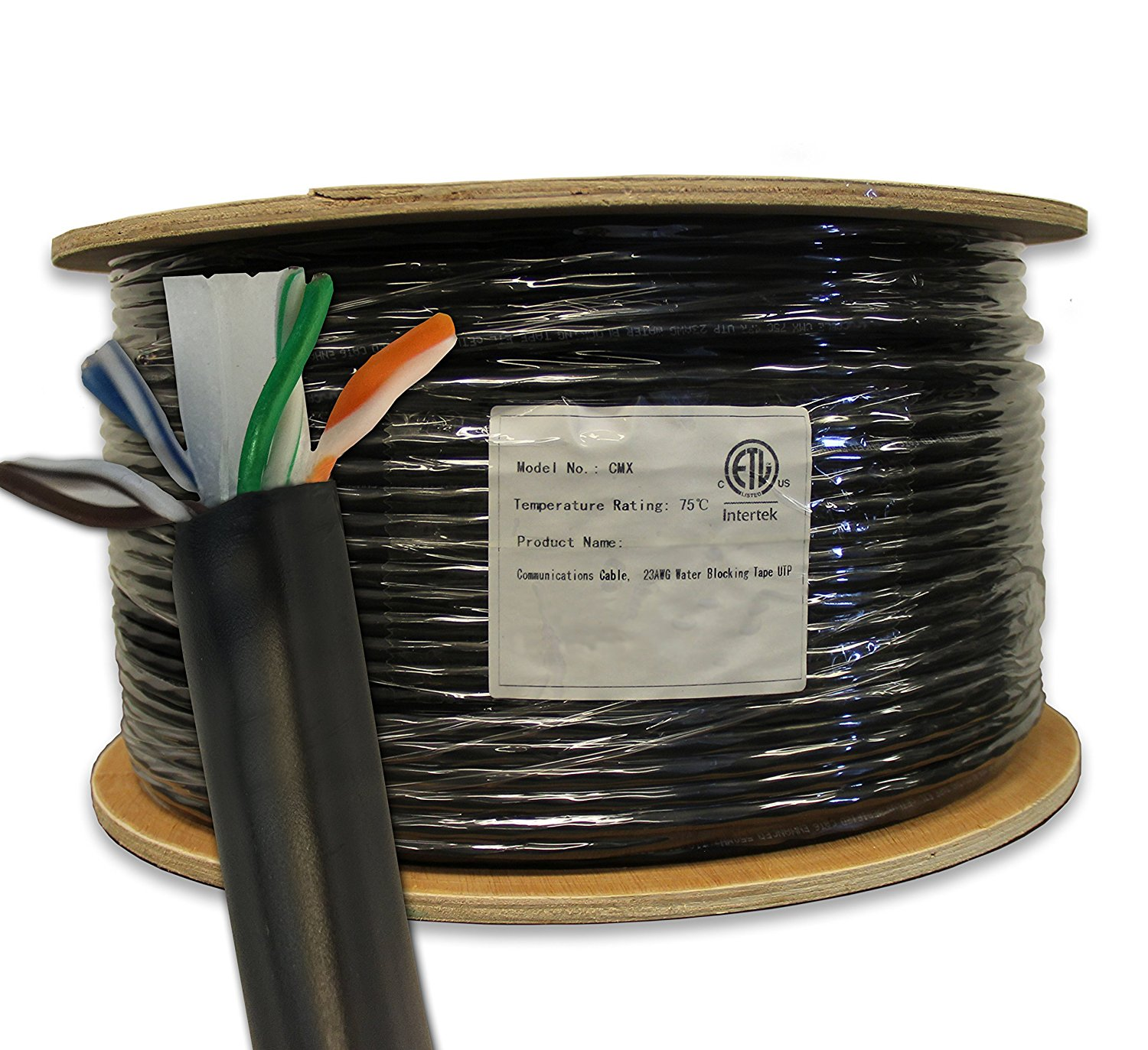 Cat6 Outdoor, 1000ft, Waterproof, Direct Burial Rated CMX, Unshielded UTP, Solid Bare Copper Bulk Ethernet Cable, 550MHz, ETL Listed, Black, trueCABLE