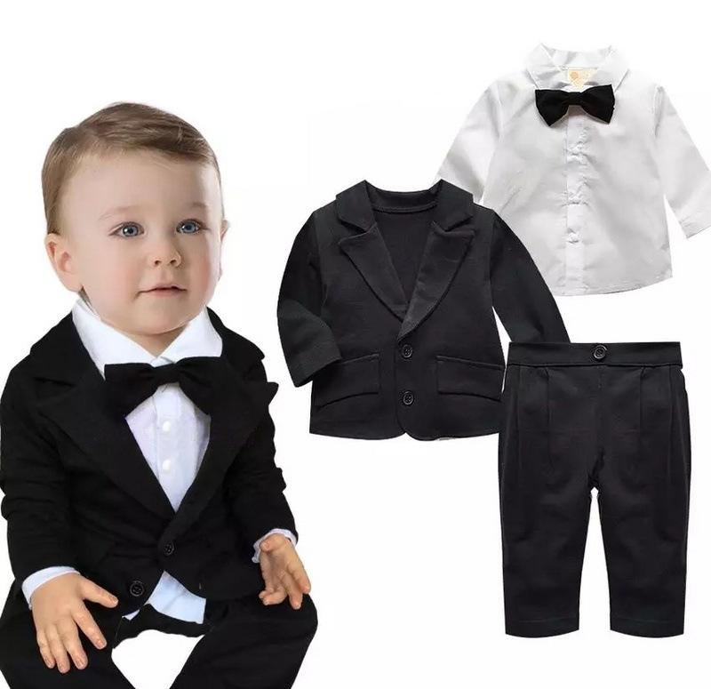 337ed319a الخريف تصميم جديد 2015 3 قطعة بدلة سوداء وبانت قميص أبيض مع ربطة ملابس  الاطفال اللباس