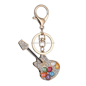 2017 Fashion Music Guitar Pendant keyrings With Rose gold Clasp Metal Keychain