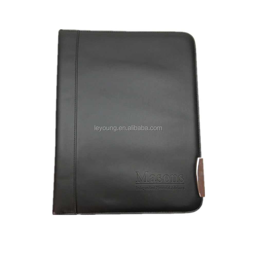 Soft PU File Folder Ring Binder A4 Leather Conference Folder