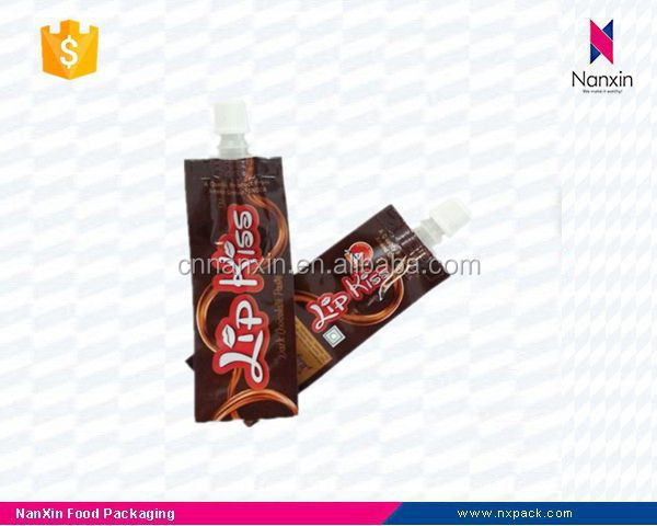 plastic liquid chocolate packaging tube shape spout pouch