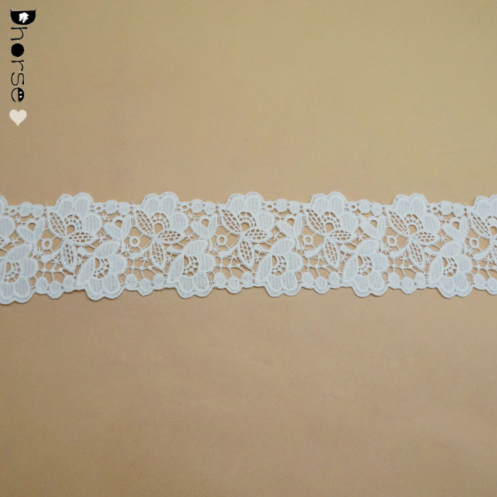 Latest french swimwear cotton crochet collar water soluble macrame fancy embroidery pearl lace trim
