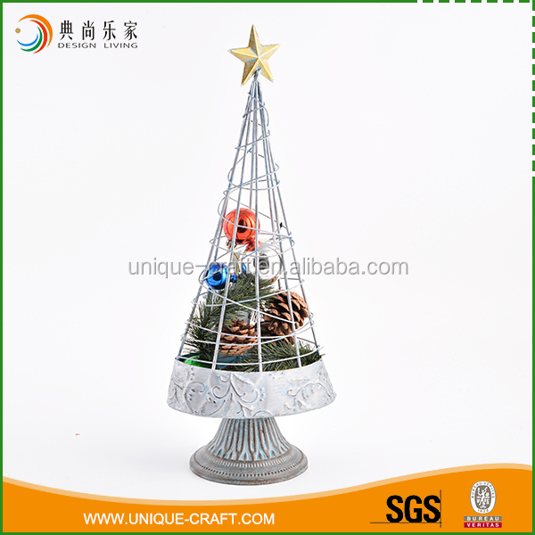 Simple design wholesale antique silver metal wire christmas trees
