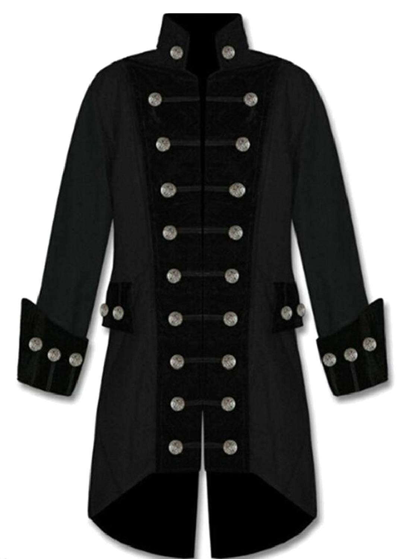 550f2aa619 Get Quotations · GAGA Men Casual Goth Steampunk Victorian Frock Coat Jacket