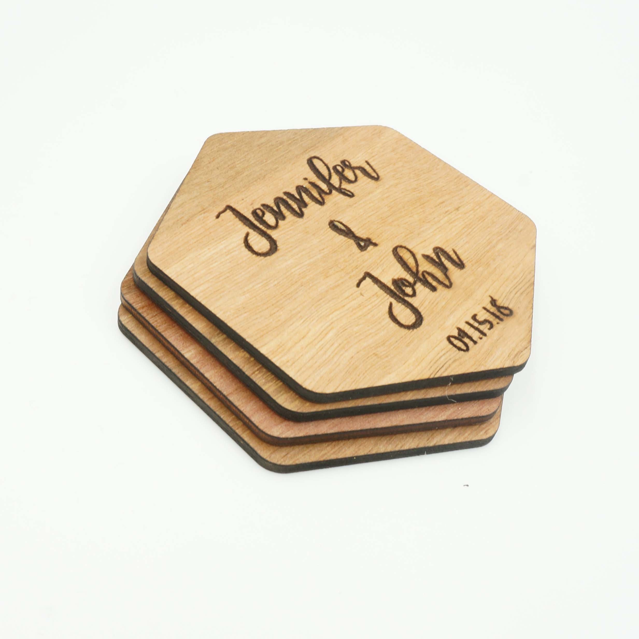 Custom Modern Hexagon Wooden Coasters Couples Name Wedding Date Coasters Personalized Engraved Cut Drink Holders Housewarming Whiskey Gift Idea