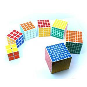 Pack of 7 ,Cube Puzzle Bundle Pack,2x2x2,3x3x3,4x4x4,5x5x5,6x6x6,7x7x7,8x8x8 ,Shengshou White Professional Speed Cubes Collection