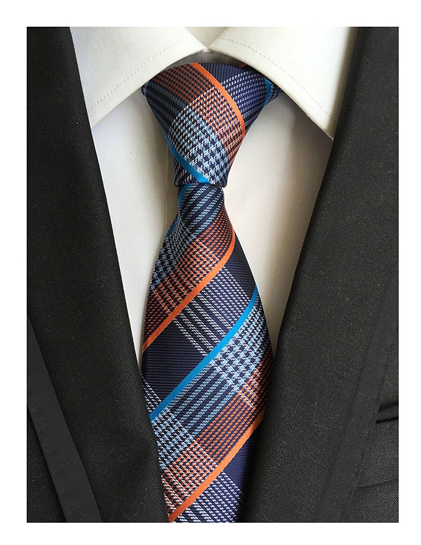 89b4388ca30 Get Quotations · MINDENG Mens Grids Striped Silk Ties Jacquard Woven Suits  Tie Plaid Necktie Ties