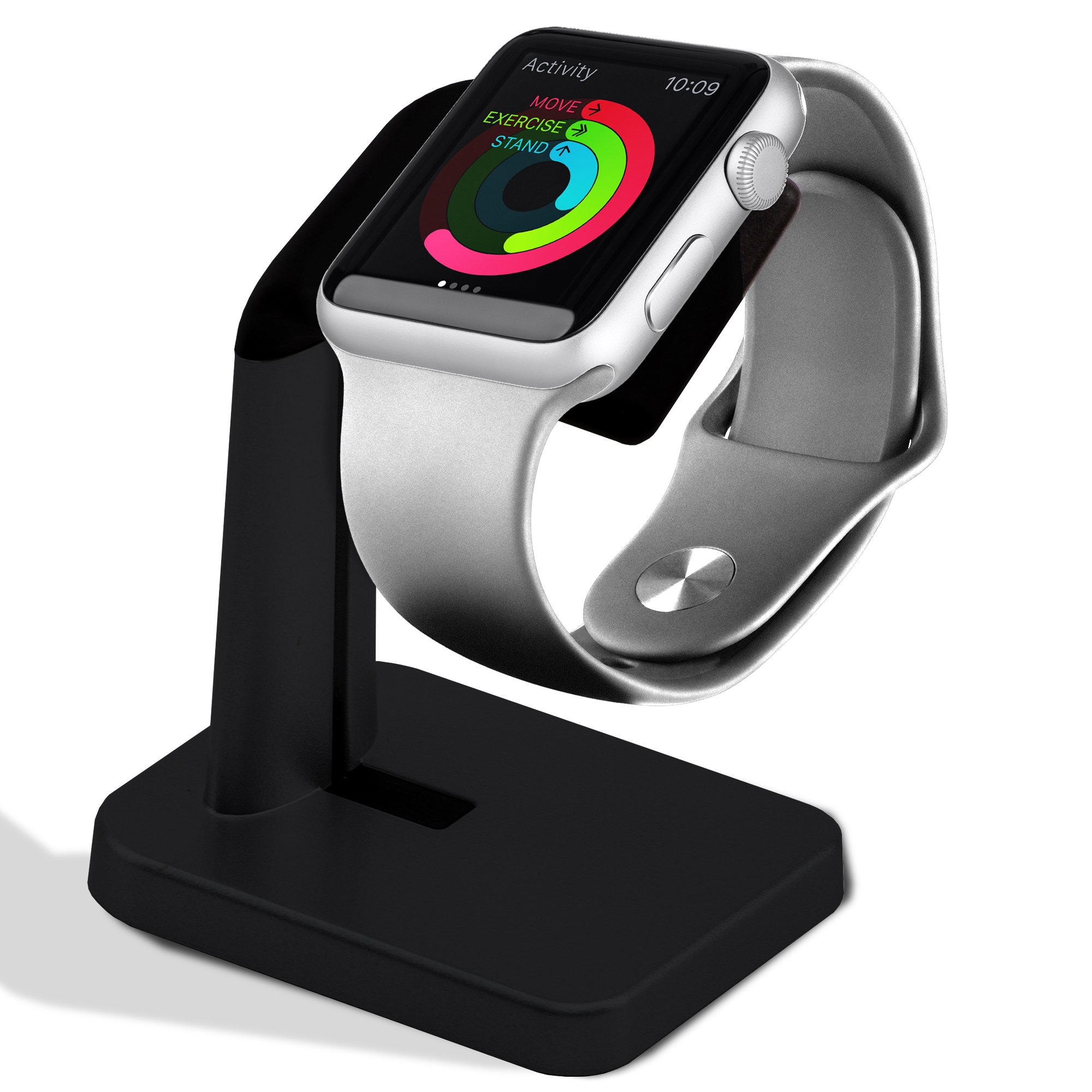 Apple iWatch Stand for charging,Dock Charge Station holder for smart watches series 38/42mm [Nightstand mode].Black color edition bracket support. Watch charger, cable not included. Antislip platform.
