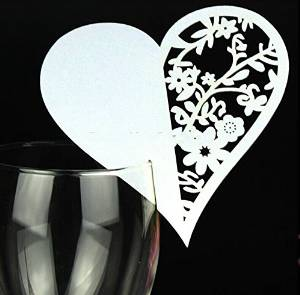 Worldoor® 50 Gorgeous Heart with Flowers Laser Cut Wedding Table Number Name Place Card Wedding Party Decoration Favor/s white Laser Cutting Love Heart Design Place Cards/ Pearl Paper Table Name Number Cards/ Wedding Banquet Party Decoration