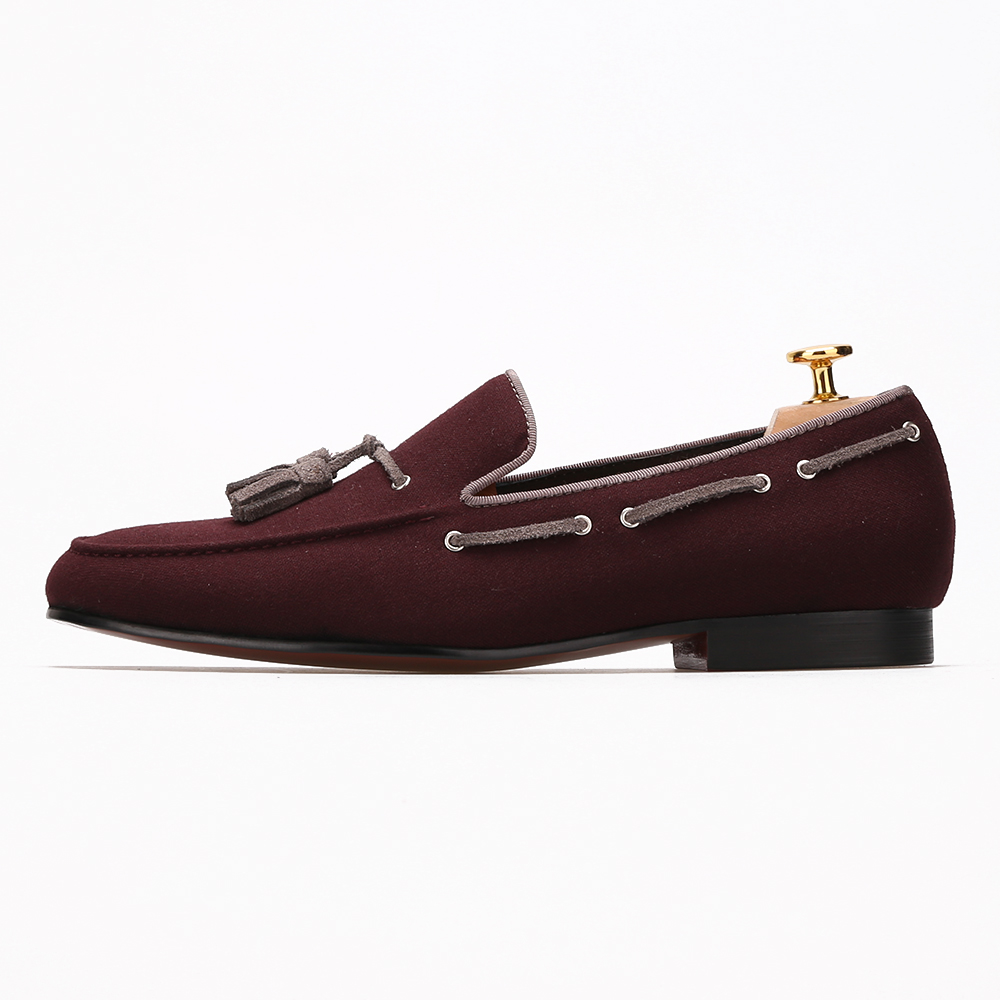 velvet casual shoes red tassel men qwvEpBqC