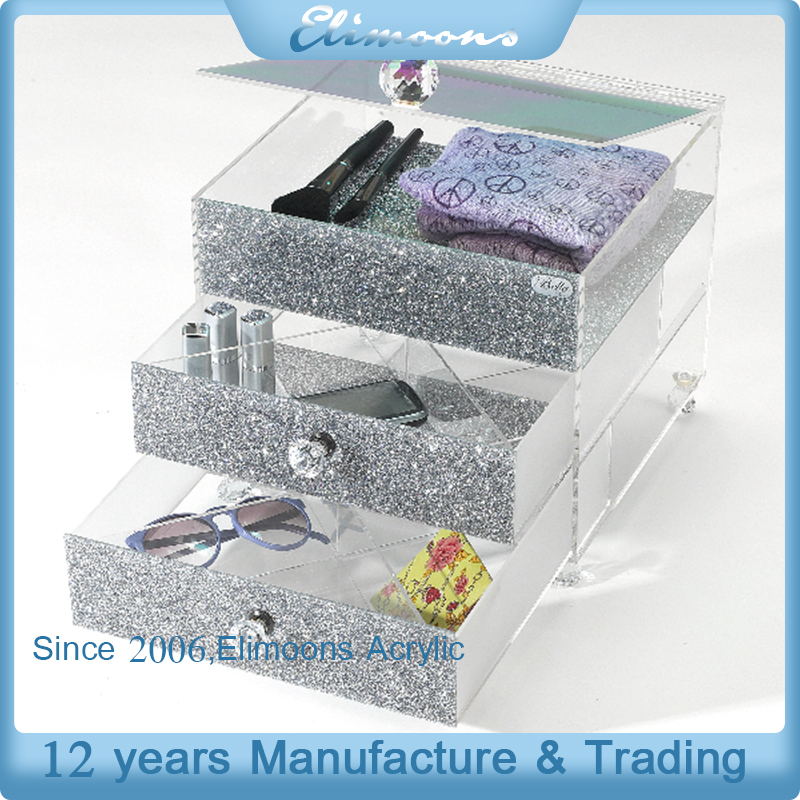3 Layer Clear Silver Plexiglass Cube Makeup Storage Drawers/Acrylic Cosmetic Disaplay Organizer