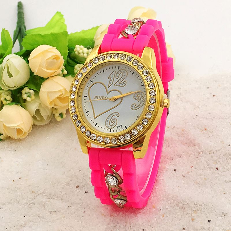 New Fashion Brand PINBO Alloy Chain Crystal Silicone Quartz Watch Women Gold Heart-shaped Casual Watches