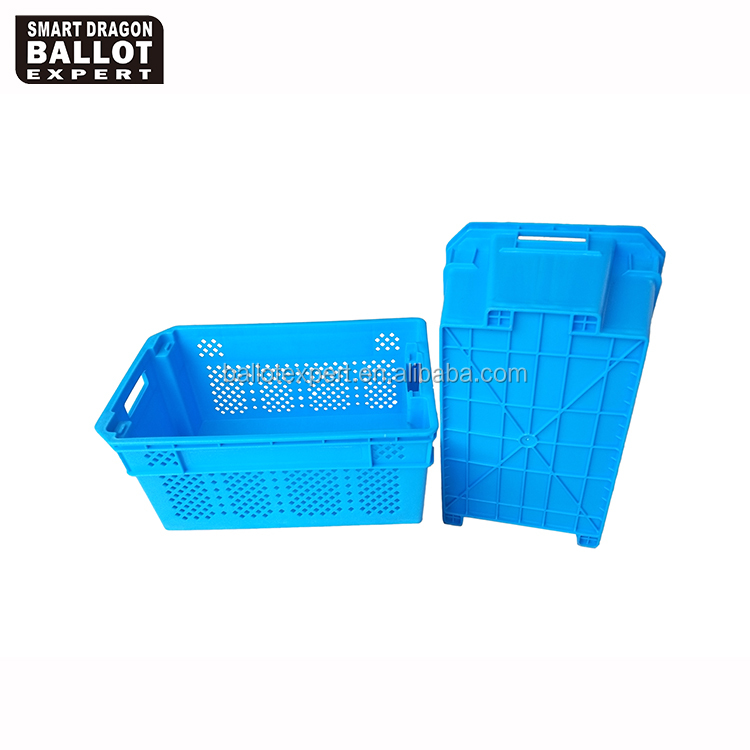 durable mesh large folding eco-friendly collapsible plastic crates portable stackable