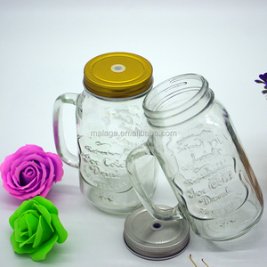 2 Pieces Glass Mason Jar With Colorful Lid For Drink/beverage/juice/milk