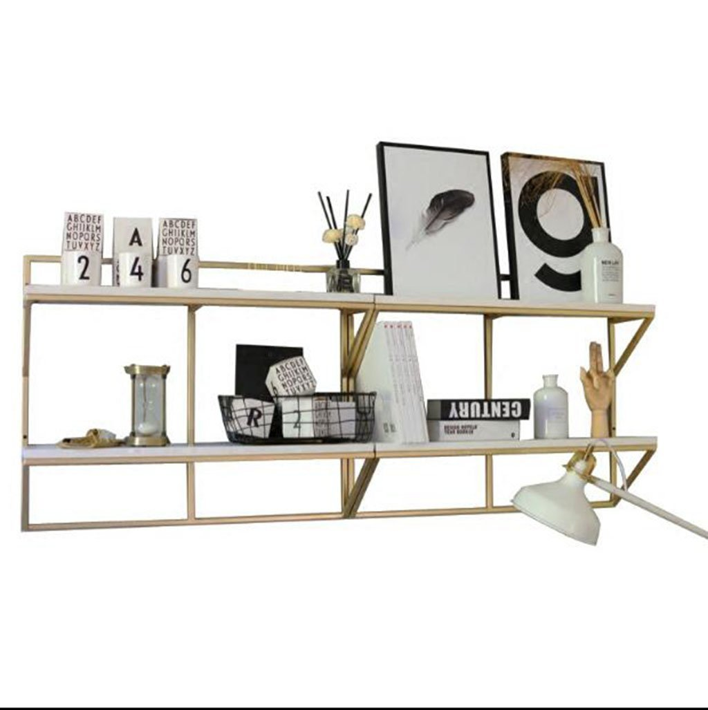 LQQGXL Storage and organization Kitchen wall racks, wall decorations, golden double shelves, wine racks, display racks. (Size : 1001860cm)