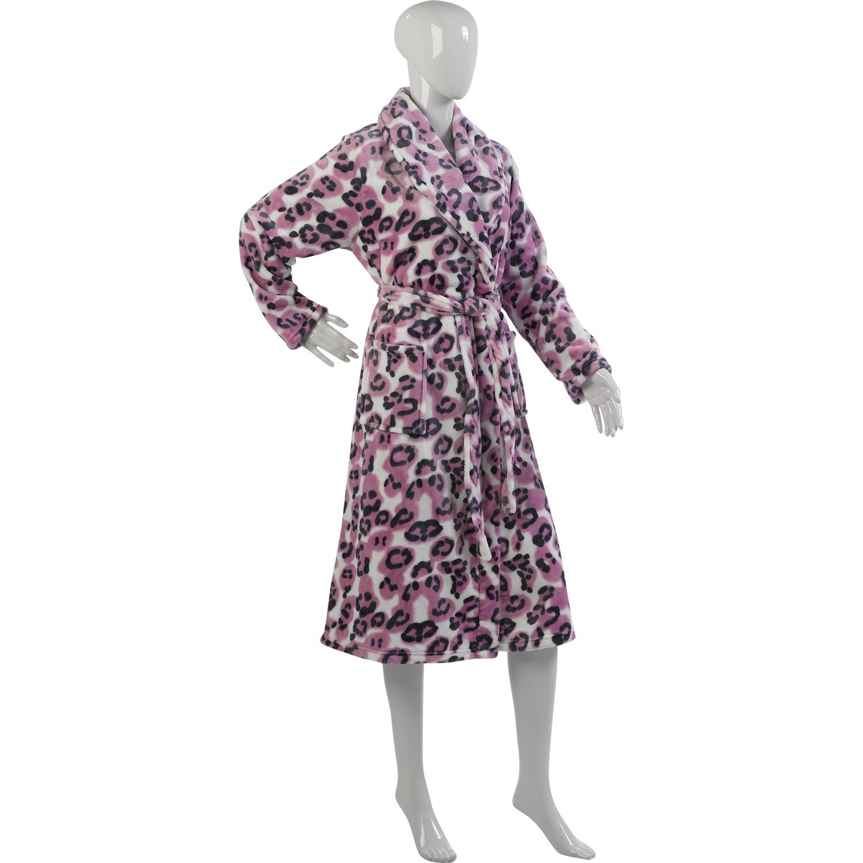 77c0d0b2b322d Ladies Luxurious Slenderella Leopard Print Dressing Gown Soft Mink Fleece  (S-XL Mink, Pink)