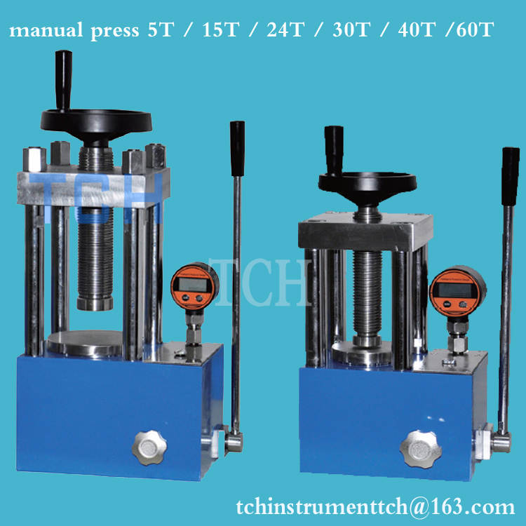 Laboratorium 12T Manual Mesin Press Hidrolik untuk Pelet Bubuk Menekan