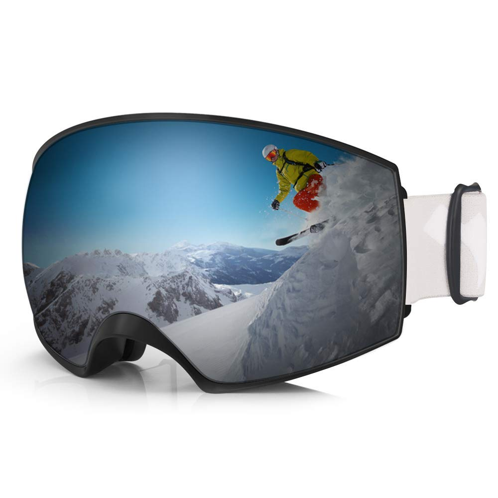 WhiteFang Ski Goggles PRO Snow Snowboard Goggles Magnet Dual Layers Interchangeable Lens Over Glasses Design Anti-Fog 100% UV400 Protection Anti-Slip Strap for Men Women Youth