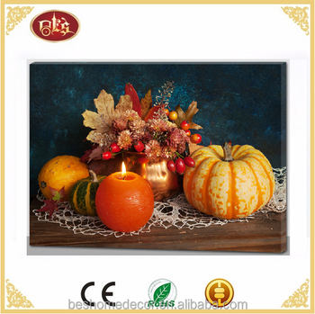 thanksgiving light up candle wall picture led light canvas for home