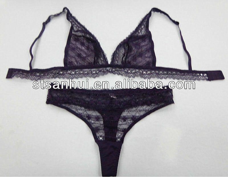 hot images new style sexy lady in transparent lace triangle bra panty set lingerie