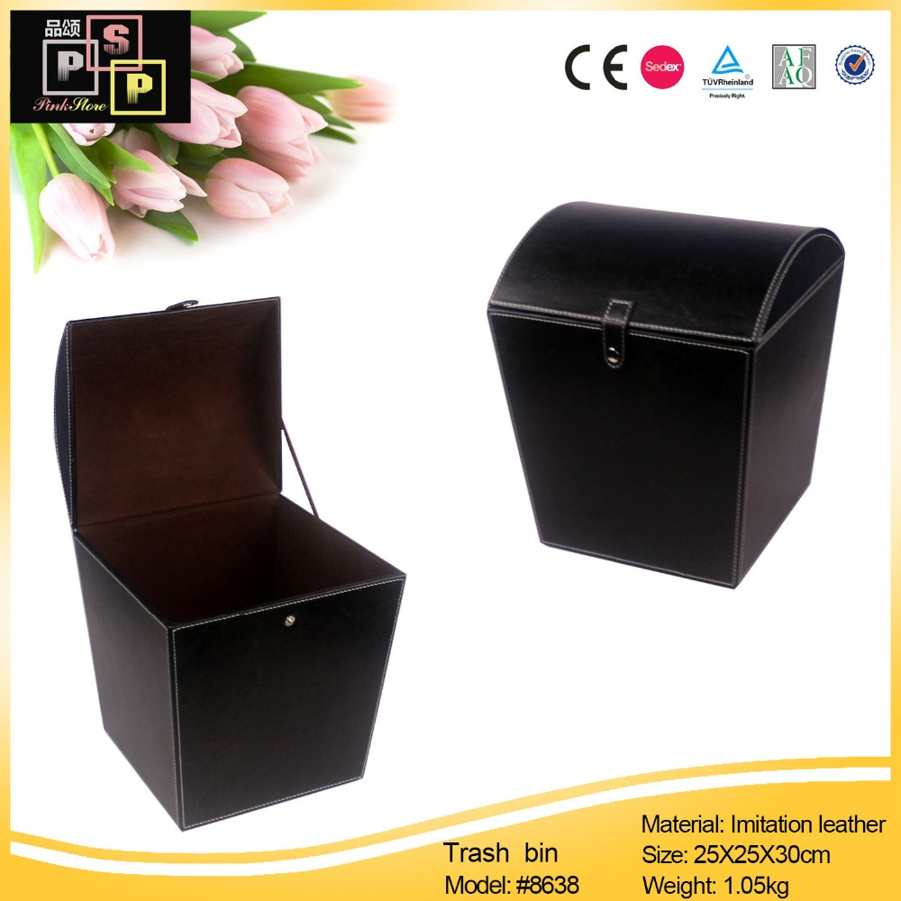 wholesale colored purchase outdoor recycling leather garbage trash bin for bedroom office