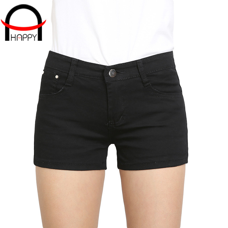 2015 summer style demin shorts feminino casual candy color mid waist pantalones cortos mujer straight plus size hot shorts WP031